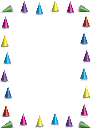 birthday party kids: border of colourful party hats on white background