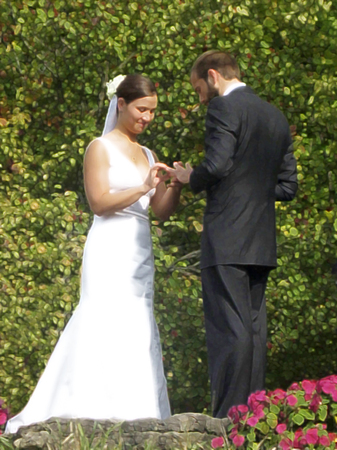 portrait of a wedding couple exchanging rings photo
