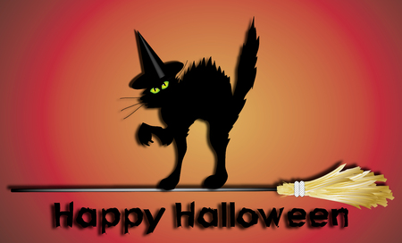bewitched: happy halloween sign with witch cat crossing a broomstick Stock Photo