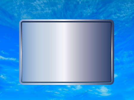 blank sign with silver hue on brilliant blue sky background photo