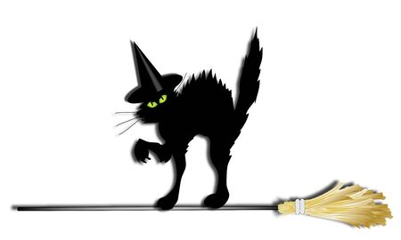 bewitched: witch cat with hat crossing a broomstick