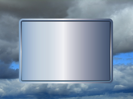 blank sign with blue hue on blue and grey cloudy sky background photo