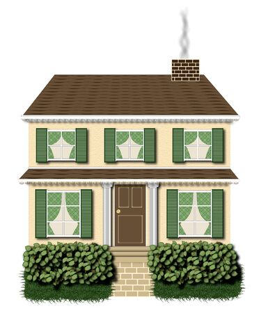 suburbian: green and brown two story house illustration on white background