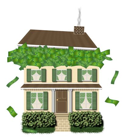 conceptual illustration of two story house overflowing with money Stock Illustration - 1728577