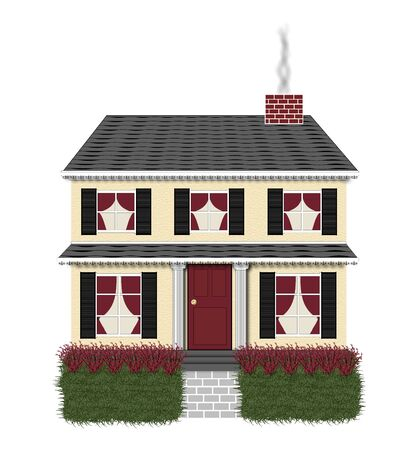 suburbian: illustration of a two story black and red house on white background