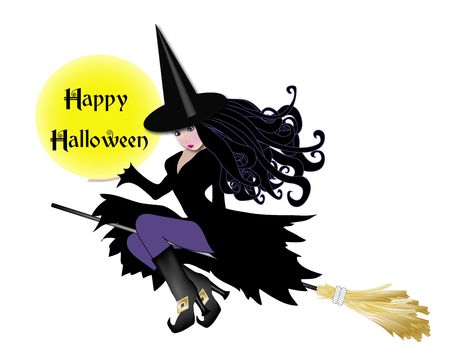 haunting: illustration of witch in purple holding happy halloween sign Stock Photo