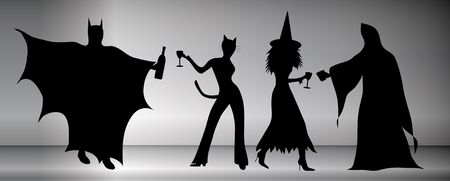 mingle: silhouette of couples dancing and drinking at halloween party