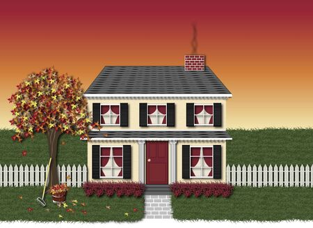 suburbian: illustration scene of black and red house in autumn time