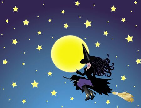 illustration of witch holding the moon on night sky background illustration