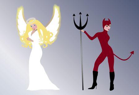 illustration of glowing angel and seductive she devil illustration