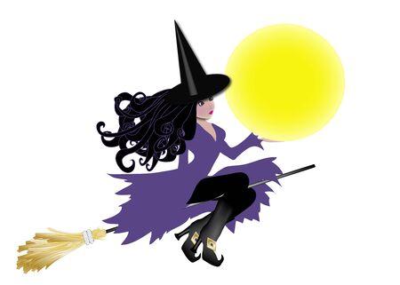 illustratie van de heks paarse houden van maan klaar voor bericht invoegen  Stockfoto