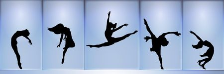 dancing pose: panoramic silhouette of five dancers on blue glowing background