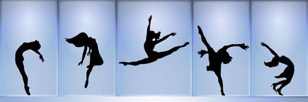 panoramische silhouet van vijf dansers op gloeiende blauwe achtergrond