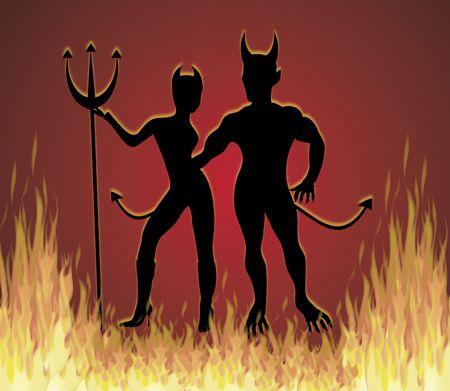 彼女は悪魔と火災で踊る彼は悪魔の図