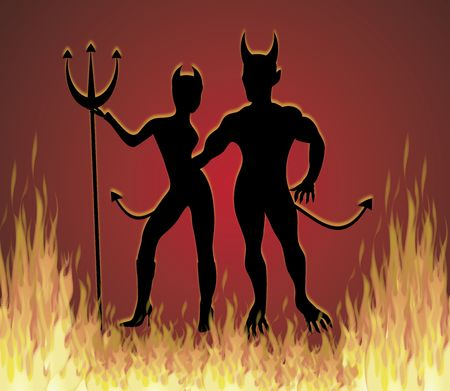 she: illustration of She Devil and He Devil dancing in fire