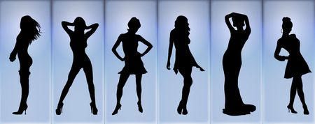 catwalk: illustration of fashion models posing on a blue glowing background