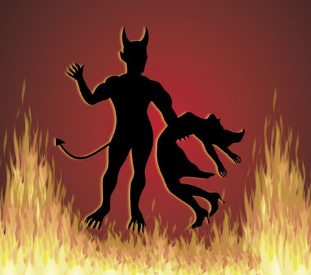 pit: illustration of woman dancing with the devil in fire pit Stock Photo