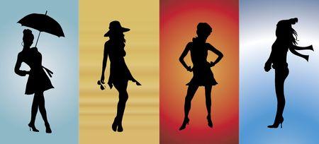 illustration of models showing the four seasons of fashion illustration