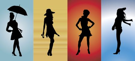 entertaining presentation: illustration of models showing the four seasons of fashion