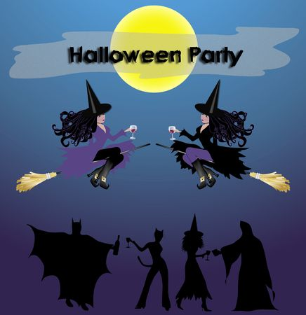 Halloween Party notice with witches and wine and people partying below photo