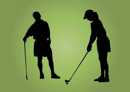 silhouette of couple golfing on a green background