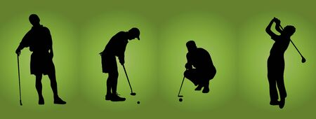 iron fun: silhouette of four male golfers on green background Stock Photo