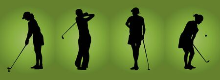 silhouette of four women playing golf on green background