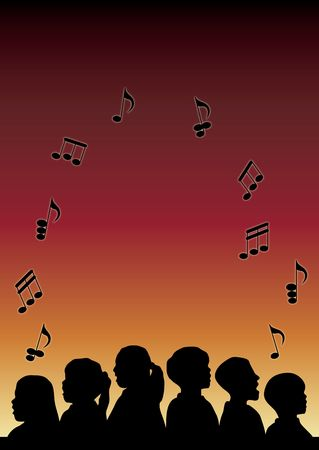 child singing: silhouette of childrens choir with music notes floating up on gradient background Stock Photo