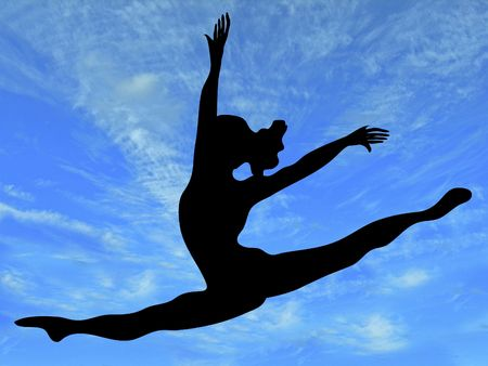 hopping:  silhouette of woman leaping across brilliant blue sky