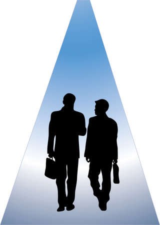 walking path: silhouette of two business men working and walking along abstract path