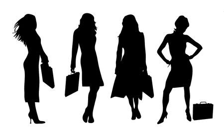 business: four silhouettes of business women in various poses on white