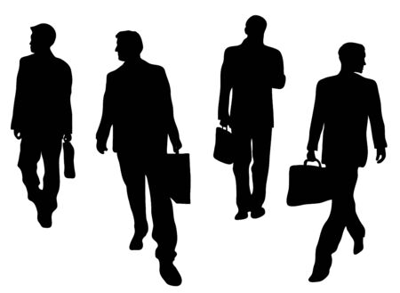 strut: four business men silhouettes coming and going on white  Stock Photo