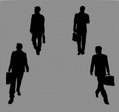 silhouette of four business men heading in different directions on abstract pathway photo