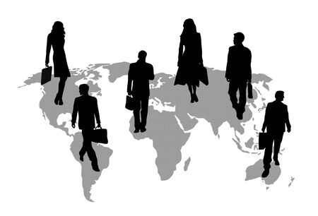 silhouettes of business travellers of grey patterned map of the world on white background