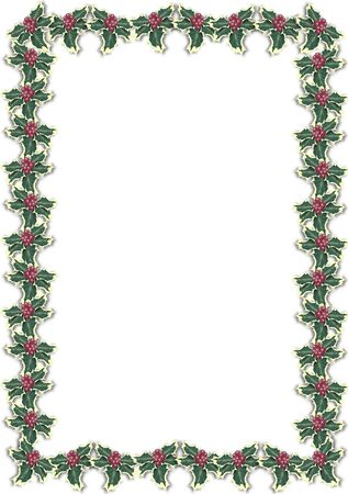 Christmas border with holly berries on white background