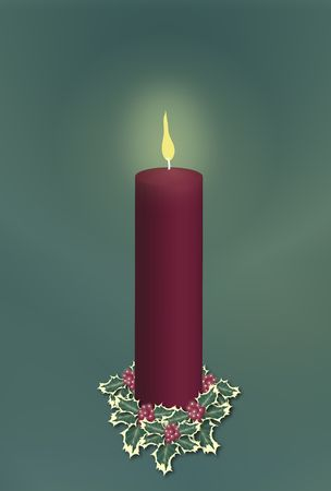single red pillar Christmas candle decorated with holly on green background photo