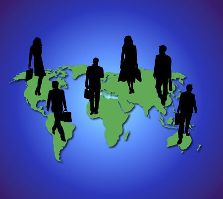 places of work: silhouettes of business travellers on green world map on blue globe background