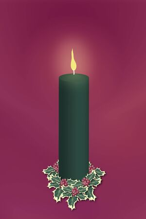 single green pillar christmas candle decorated with holly on red background