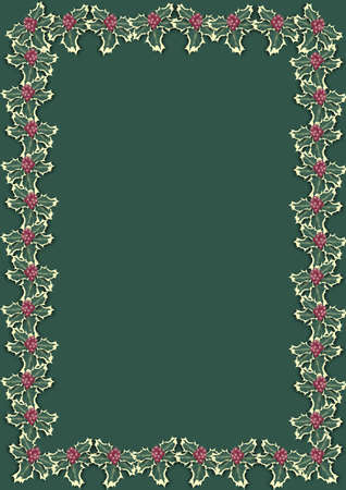 Christmas border with holly berries on green background Stock Photo - 2060278