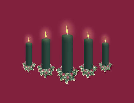 green pillar christmas candle display on red, room for text above and below