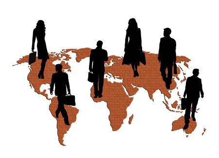 slihouettes of business travellers on brick patterned world map on white background