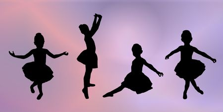 ballet tutu: silhouettes of four young girls in various ballet poses on pink and purple background