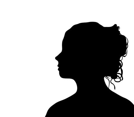 side pose: side profile silhouette of beautiful woman with glamorous hair style on white