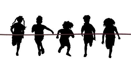 silhouet van vijf kinderen rennen naar rood lint finish op wit