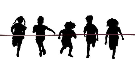 athletic: silhouette of five children racing to red ribbon finish line on white Stock Photo