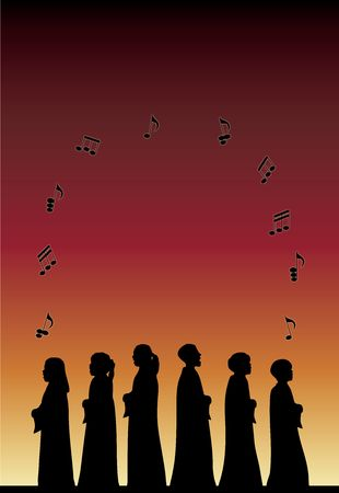 youth group: silhouette of childrens choir concert with music notes floating on gradient background Stock Photo