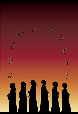 coro: silueta de los ni�os del coro de concierto con m�sica notas flotantes en degradado de fondo