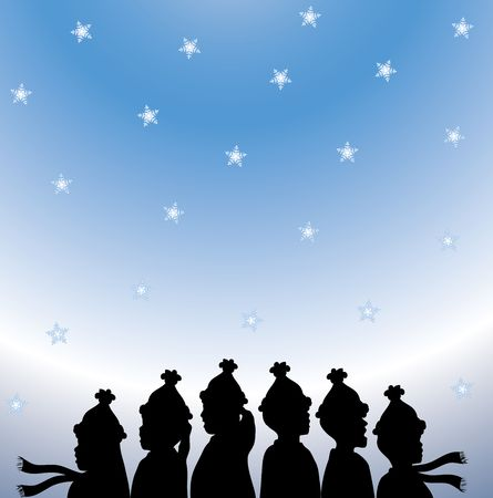 christmas carols: silhouette of Christmas carolers on snowy gradient background