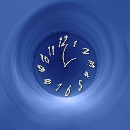 warped: illustration of clock twisting down blue whirl pool