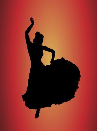 danseuse flamenco: silhouette de la danseuse de flamenco flamboyant jaune sur fond rouge et